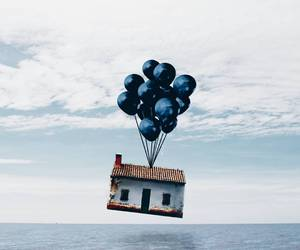 house, balloons, and blue image