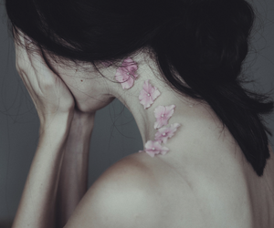back, crying, and flowers image