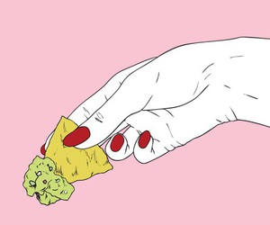 pink, hand, and nachos image
