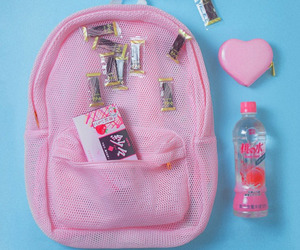 pink, aesthetic, and backpack image