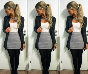 blonde, clothes, and skirt image