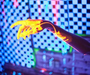 hand, neon, and photography image