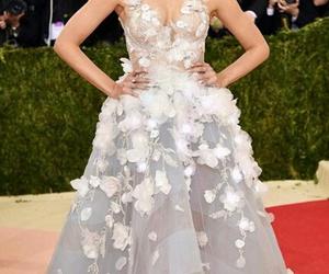 dress, flowers, and long dress image