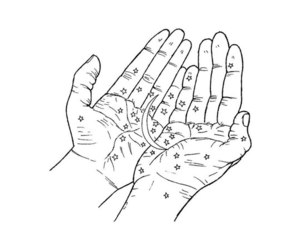hands, art, and stars image