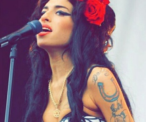 Amy Winehouse, black hair, and flower image