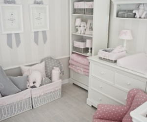 baby girl, grey and pink, and love image
