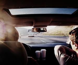 car, boy, and road image