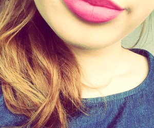 girl, mouth, and pink image