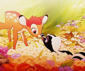 bambi, disney, and flowers image