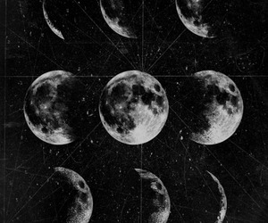 moon, stars, and black and white image