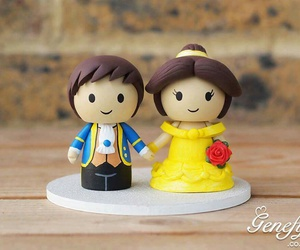 beauty and the beast, belle, and wedding cake topper image