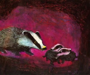 badger, illustration, and cubs image