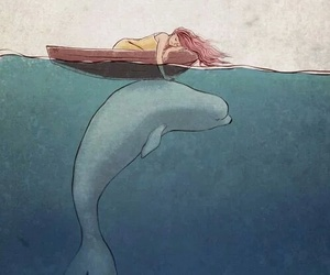 girl, sea, and whale image