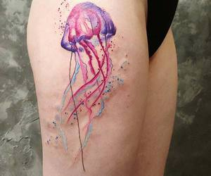 inked, jellyfish, and watercolor image