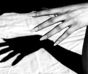 nails, black and white, and hand image