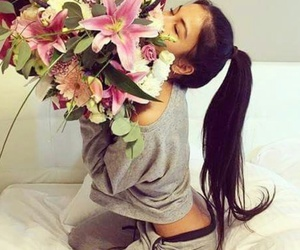 flowers, girl, and happy image