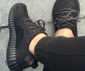 shoes, yeezy, and black image