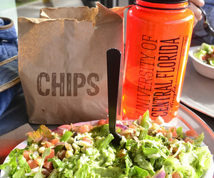 food, chips, and salad image