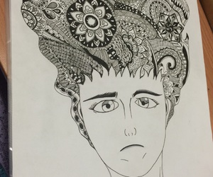 art, ink drawing, and Paper image