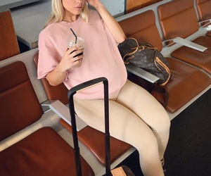 airport, baby bump, and fashion image