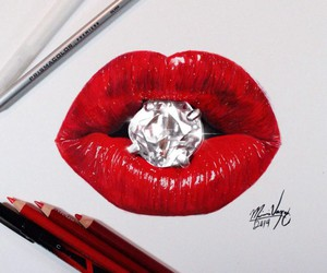 lips, diamond, and red image