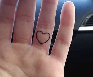 tattoo, finger, and heart image