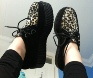 creepers, shoes, and leopard image