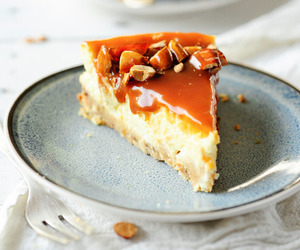 caramel, cheesecake, and almond image