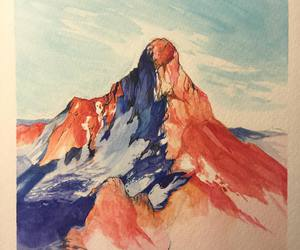 art, mountain, and drawing image