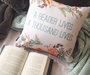 book, pillow, and reader image