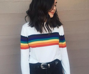 fashion, girl, and rainbow image