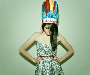 girl, feather, and headdress image
