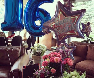 birthday, flowers, and present image