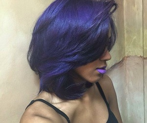 hair, purple, and purple lipstick image