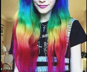 rainbow, hair, and colors image