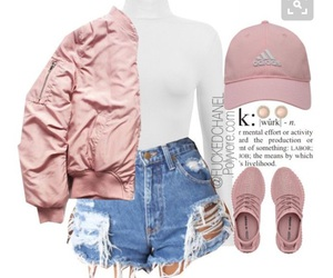 pink sneakers, white turtleneck, and adidas baseball hat image