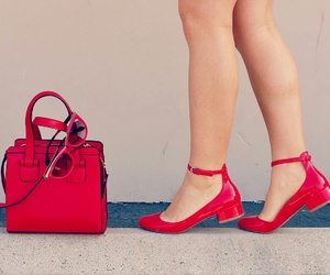 red sunglasses, red purse, and red flats image