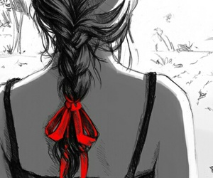 girl, red, and drawing image