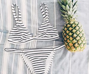 pineapple, strips, and swimsuit image