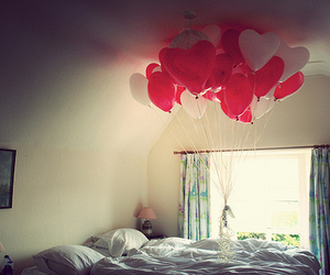 bedroom, heart, and red image