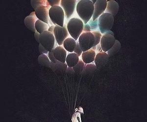balloons, black, and glow image