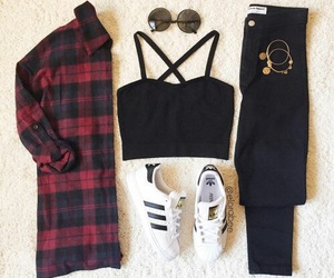 outfit, adidas, and black image