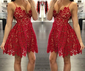 dress, lace, and red image