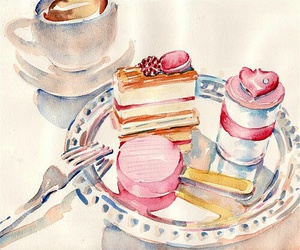art, cake, and coffee image