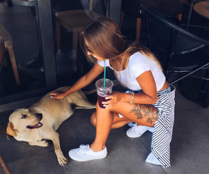 girl, dog, and tattoo image