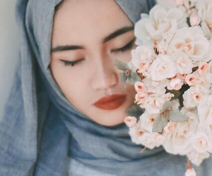 beauty, flower, and hijab image