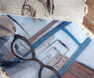 art, girl, and glasses image