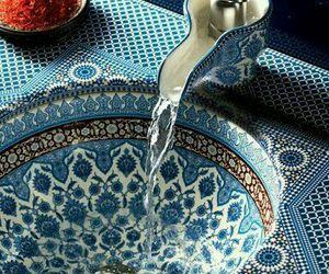 blue, sink, and bathroom image