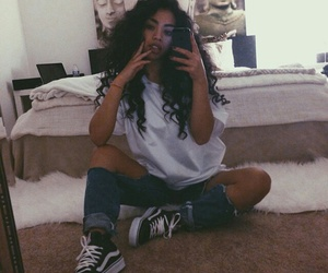 outfit, vans, and curly hair image