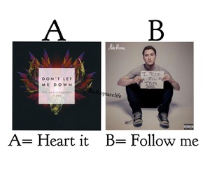 follow, don't let me down, and heart image